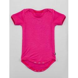 DuoMamas Dětské body s krátkým rukávem sytě růžové