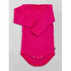 DuoMamas Dětské body s dlouhým rukávem sytě růžové