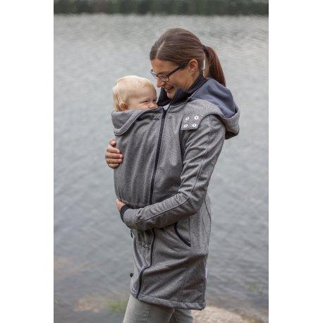 LoktuShe Nosící Softshellový kabát - šedý melír