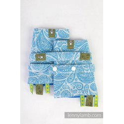 LennyLamb Drool Pads and Reach Straps Set Paisley Turquoise & Cream