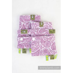 LennyLamb Drool Pads and Reach Straps Set Paisley Purple & Cream