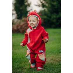 LennyLamb Kombinéza dětská Bear Romper červená s Little Herringbone Imagination