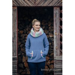 LennyLamb Fleece Babywearing Sweatshirt Blue with Little Herringbone Impression - not babywearing