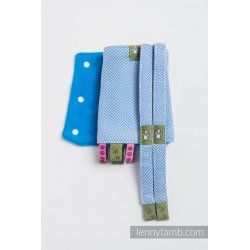 LennyLamb Drool Pads and Reach Straps Set Little Herringbone Blue
