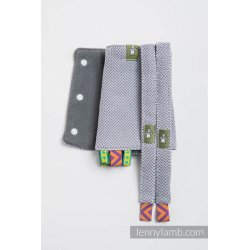 LennyLamb Drool Pads and Reach Straps Set Little Herringbone Grey