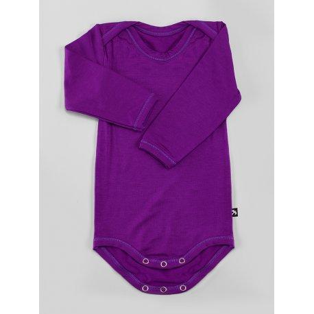 DuoMamas Dětské body s dlouhým rukávem tmavě fialové