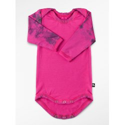 DuoMamas childern bodysuit - long sleeves - dark pink coloured sleeves