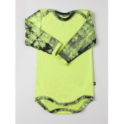 DuoMamas childern bodysuit - long sleeves - lime coloured sleeves