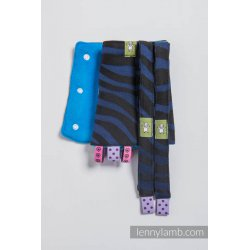 LennyLamb Drool Pads and Reach Straps Set Zebra Black & Navy Blue