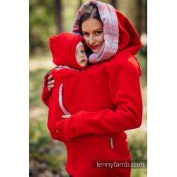 LennyLamb fleecová mikina 2.0 - červená s Little Herringbone Elegance
