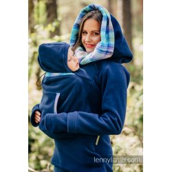 LennyLamb Fleece Babywearing Sweatshirt 2.0 - navy blue with Little Herringbone Petrea