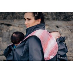 LennyLamb Babywearing coat softshell - Charcoal with Little Herringbone Elegance