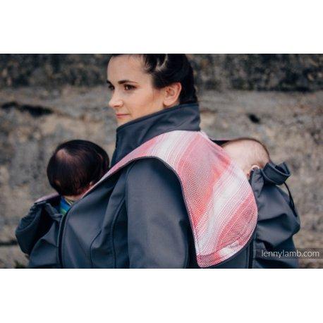LennyLamb Babywearing coat softshell - Charcoal with Little Herringbone Elegance
