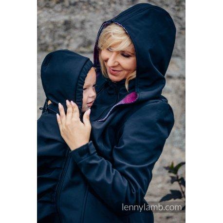 LennyLamb Babywearing coat softshell - Black with Little Herringbone Inspiration