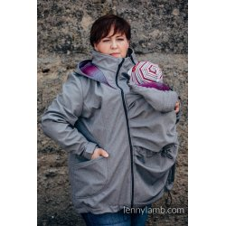 LennyLamb Babywearing coat softshell - Grey melange with Little Herringbone Inspiration
