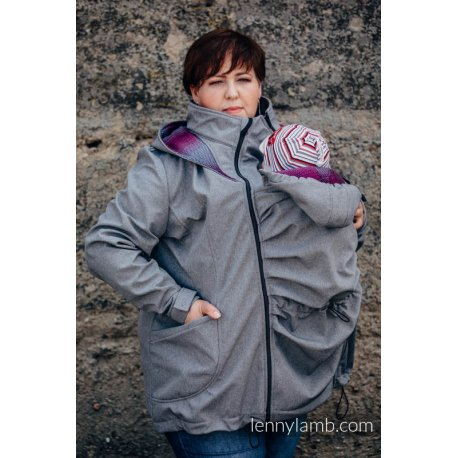 LennyLamb Babywearing coat softshell - Grey melange with Little Herringbone Inspiration