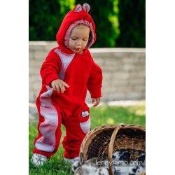 LennyLamb Kombinéza dětská Bear Romper červená s Little Herringbone Elegance