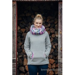 LennyLamb Fleece Babywearing Sweatshirt Grey with Little Herringbone Tamonea - not babywearing