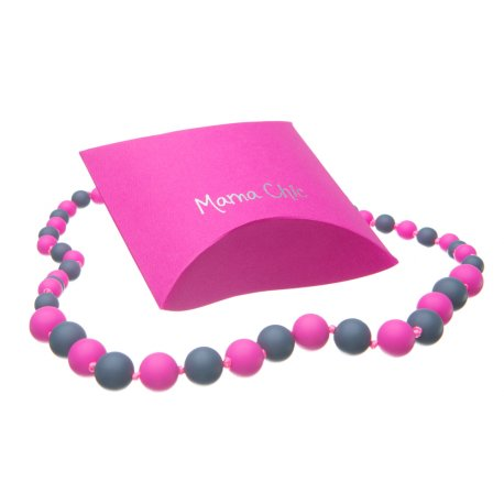 Silicone beads Mama Chic - Pink -grey