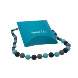 Silicone beads Mama Chic - Navy-turquoise-grey