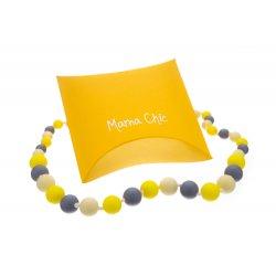 Silikonové korále Mama Chic - Žluto-šedá