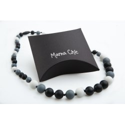 Silicone beads Mama Chic - Black-white