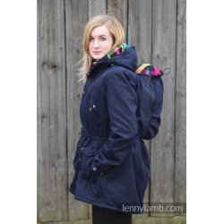LennyLamb Parka Babywearing Coat NAVY BLUE & DIAMOND PLAID