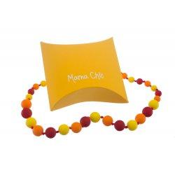 Silikonové korále Mama Chic - Karmínová, oranž, žlutá