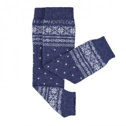 Baby leg warmers Hoppediz cashmere/merino - Norwegian blue