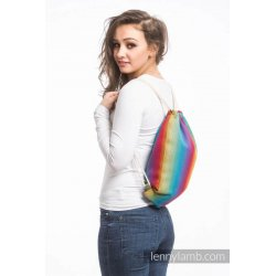 LennyLamb Bag SackPack Little Herringbone Rainbow Navy Blue