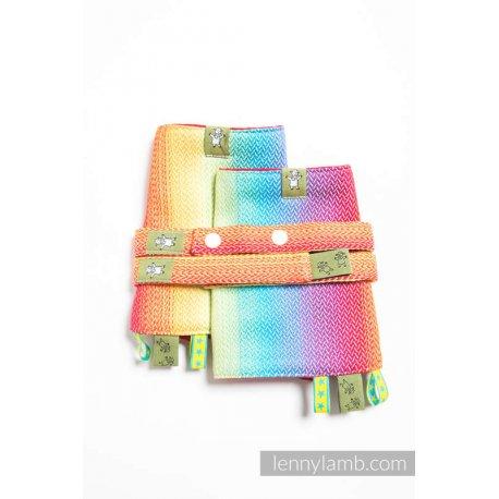 LennyLamb Drool Pads and Reach Straps Set Little Herringbone Rainbow Light