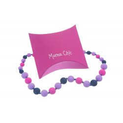 Silikonové korále Mama Chic - námořnická modř-lila-růžová
