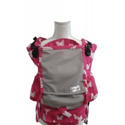 Lenka ergonomical babycarrier - 4ever - Pink butterflies - light grey mesh