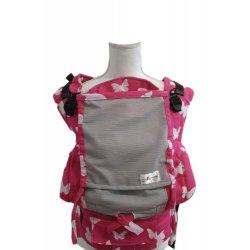 Lenka ergonomické nosítko - 4ever - Motýli pink - šedá síťka