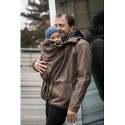 Loktu She babywearing coat for men - brown melange