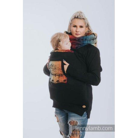LennyLamb Fleece Babywearing Sweatshirt 3.0 - black with Symphony Rainbow Dark