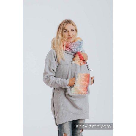 LennyLamb Fleece Babywearing Sweatshirt 3.0 - gray melange with Symphony Rainbow Light