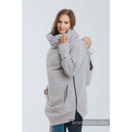 LennyLamb Fleece Babywearing Sweatshirt 3.0 - gray melange with Pearl