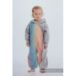 LennyLamb Bear Romper gray melange with Big Love Rainbow
