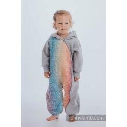 LennyLamb Kombinéza dětská Bear Romper šedý melír s Big Love Rainbow