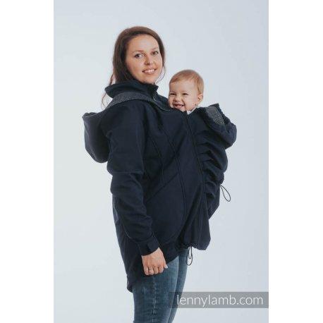 LennyLamb Babywearing coat softshell - Navy with Little Pearl Chameleon