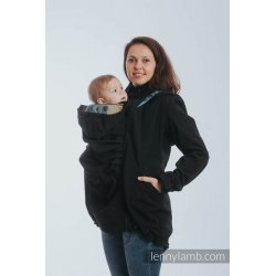 LennyLamb Babywearing coat softshell - Black with Rainbow Lace Dark