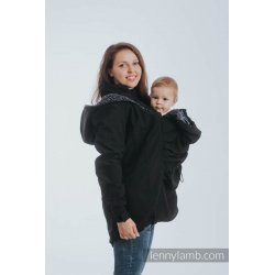 LennyLamb Babywearing coat softshell - Black with Trinity Cosmos