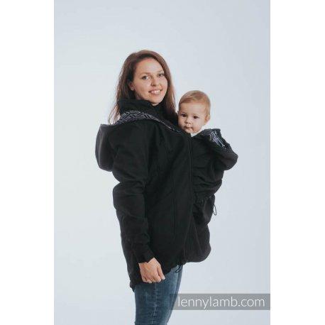 LennyLamb Babywearing coat softshell - Black with Trinity Cosmos