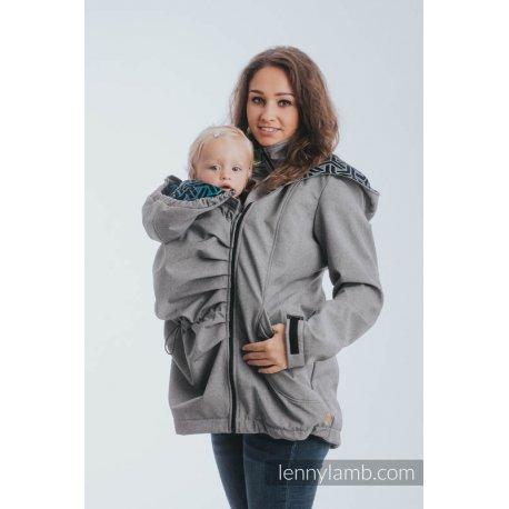 LennyLamb Babywearing coat softshell - Gray melange with Trinity Cosmos