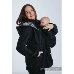 LennyLamb Babywearing coat softshell - Black with Glamorous Lace Reverse