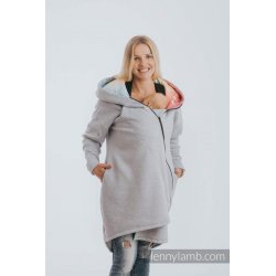 LennyLamb Asymmetrical Babywearing Sweatshirt Grey Melange with Symphony Rainbow Light