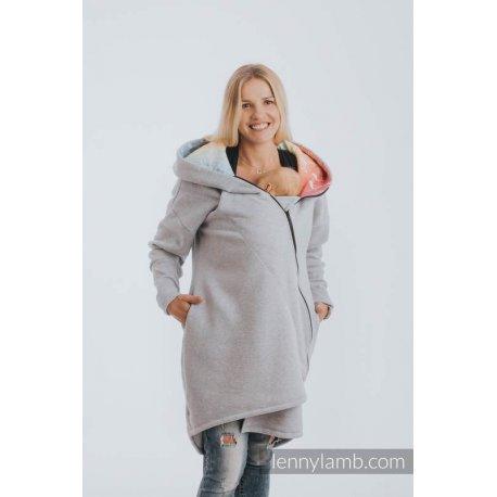 LennyLamb Asymmetrical Babywearing Sweatshirt Grey Melange with Symphony Rainbow Light