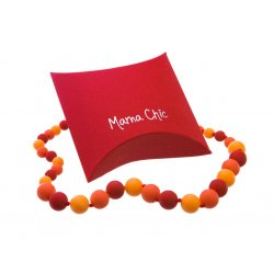 Silikonové korále Mama Chic - karmínová-červená-oranžová