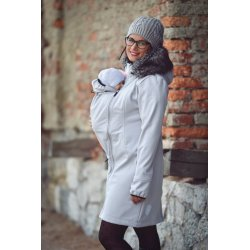 Angel Wings Softshell Coat with fur - light grey